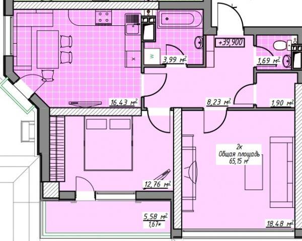 Планировки двухкомнатных квартир 65.15 м^2